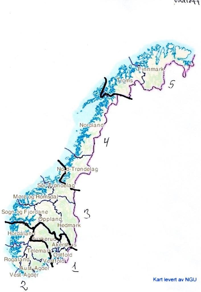 Viser regionene og inndelingen